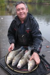 Famous match angler Dave Harrell With a bag of Quarry Park Chub